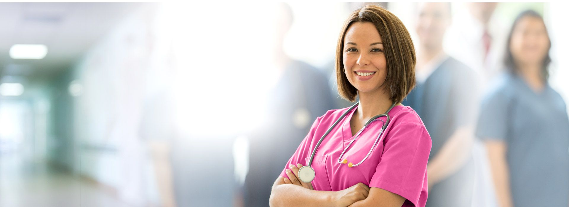 Female Nurse in Pink Scrubs
